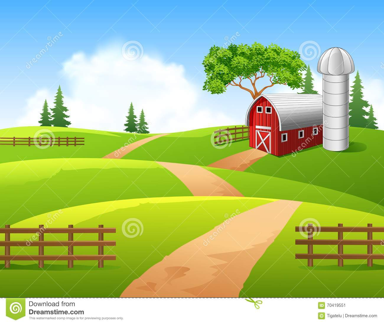 Cartoon Illustration Of Farm Background Stock Vector - Image: 70419551