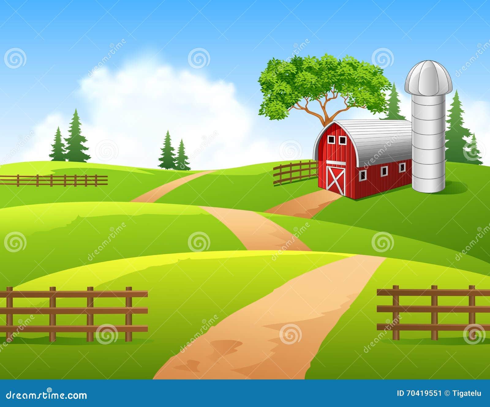 Free Barn Plans Cartoon Illustration Of Farm Background Stock Vector