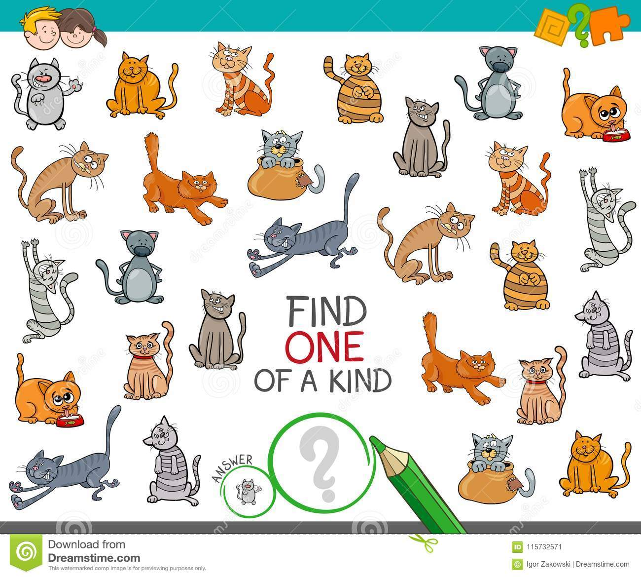 Find One Of A Kind With Cats Animal Characters Stock Vector