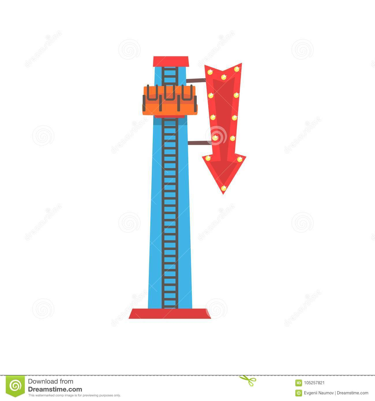 Cartoon illustration of free fall or drop tower. Extreme attraction. Amusement park icon. Funfair or carnival. Flat