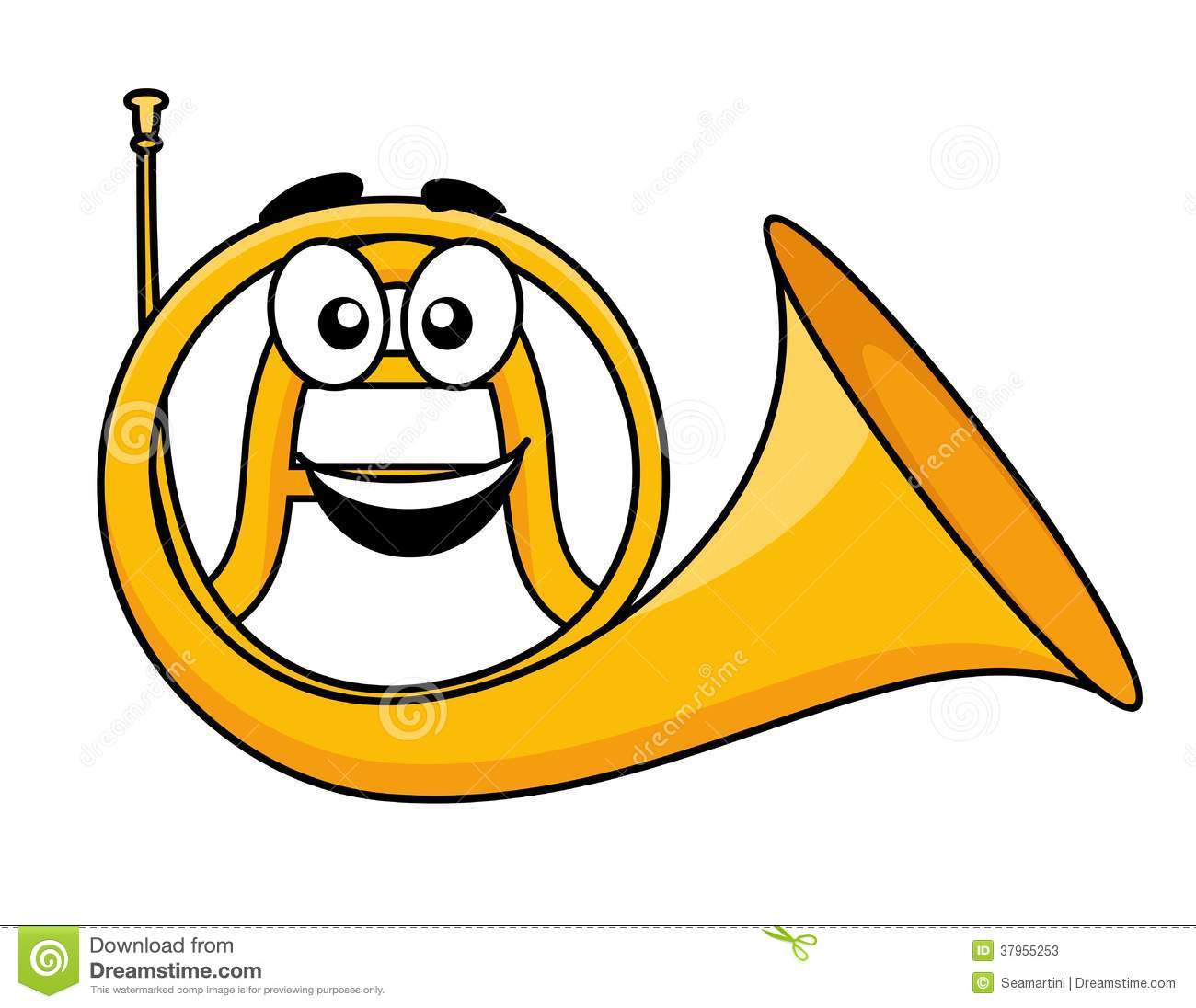 Cartoon illustration of a french horn with a smiling face in the curl ...