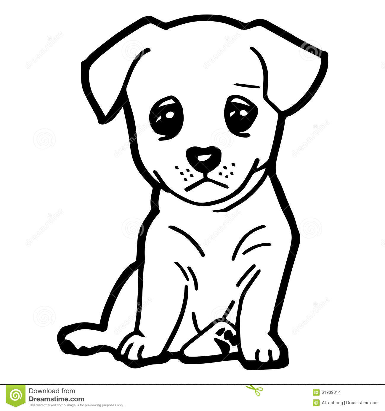cartoon illustration of funny dog for coloring book stock