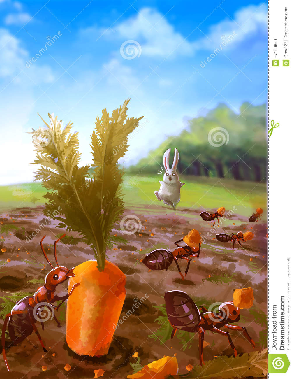 Gardening Group: Cartoon Illustration Of Group Of Red Ants Eating Carrot