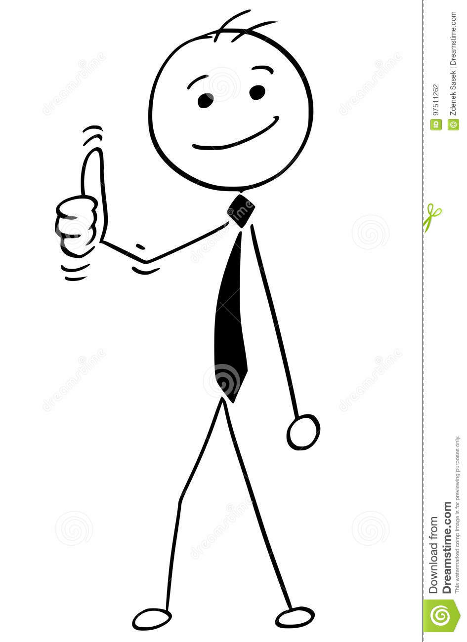 Stick figure thumbs up