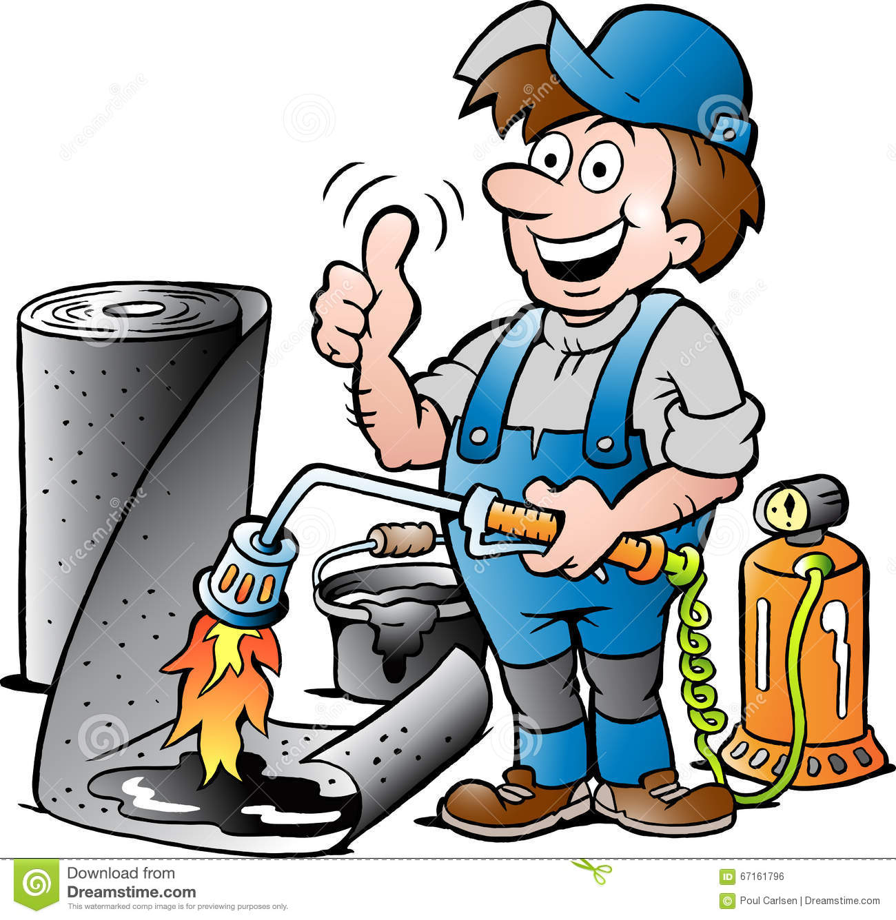 Cartoon Illustration Of A Happy Working Roofer Giving