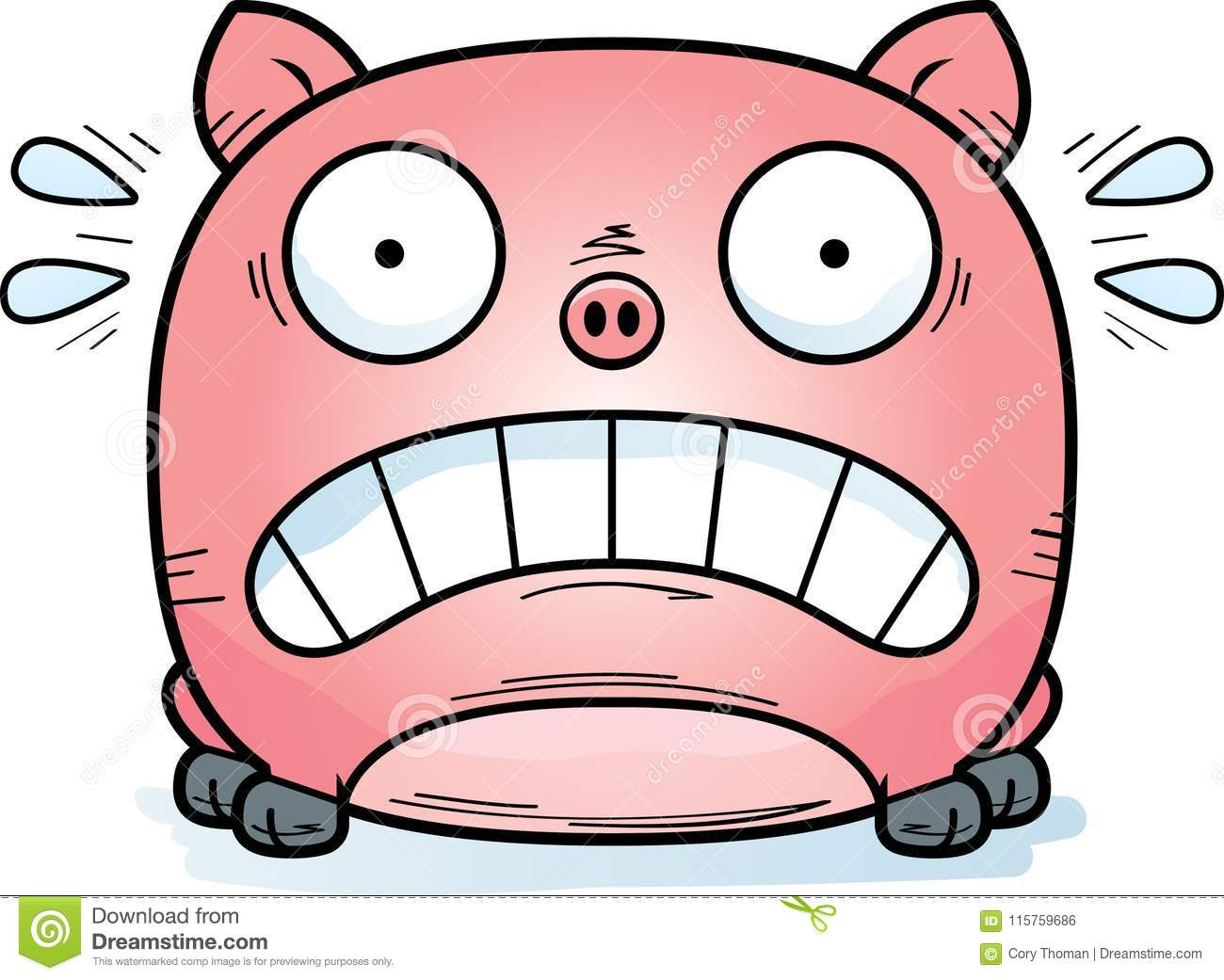 Terrified Little Pig stock vector. Illustration of afraid - 115759686