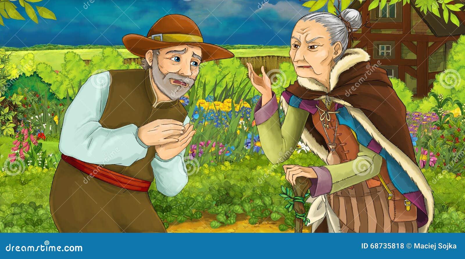 Beautiful garden cartoon - Cartoon Illustration Of A Man Talking With An Old Woman In A Herb Garden Royalty Free