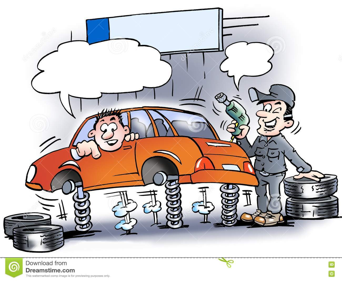 Cartoon illustration of a mechanic who testing the shock absorbers