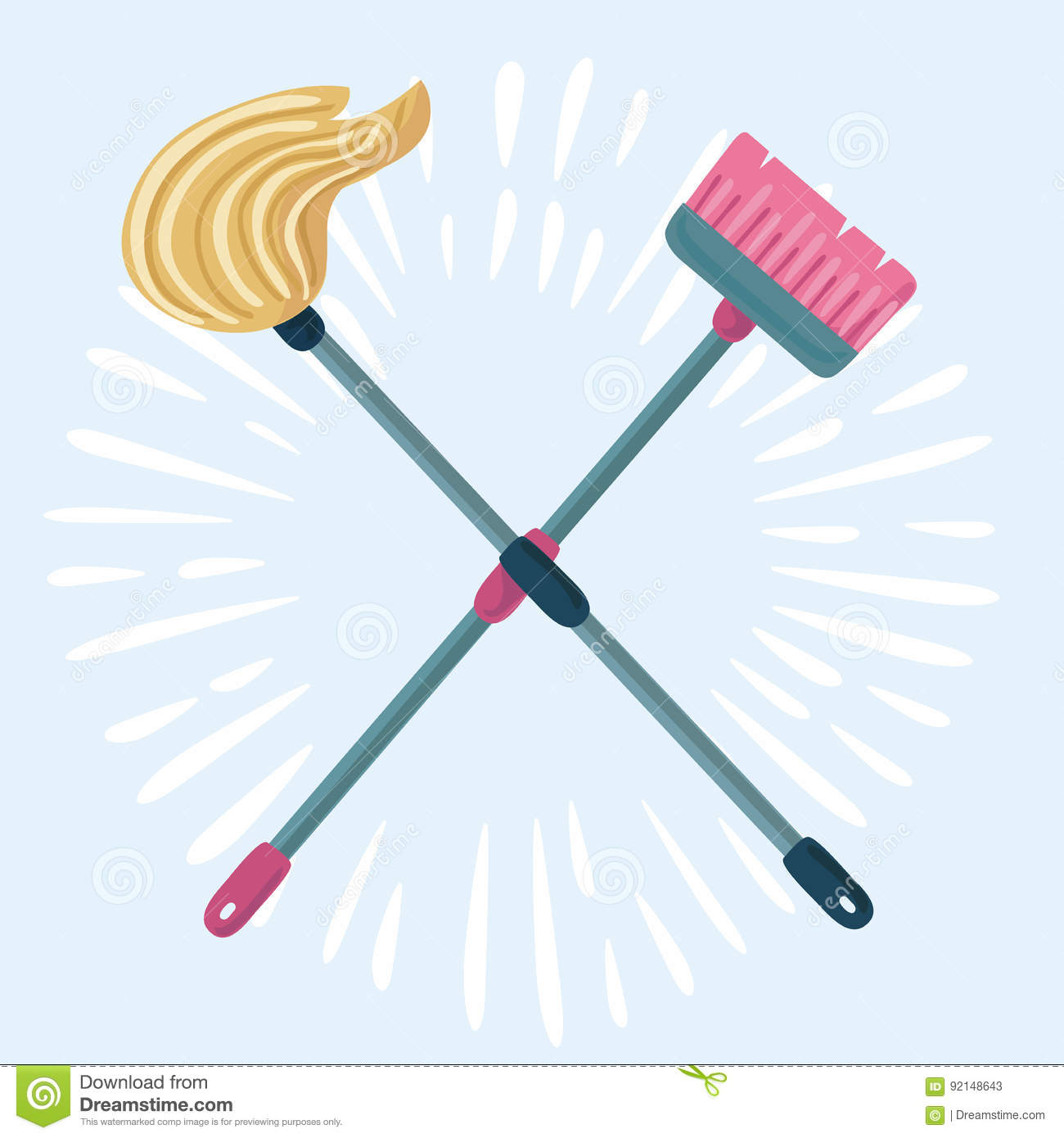 Cartoon Illustration Of Mop And Broom Cleaning Symbols Stock