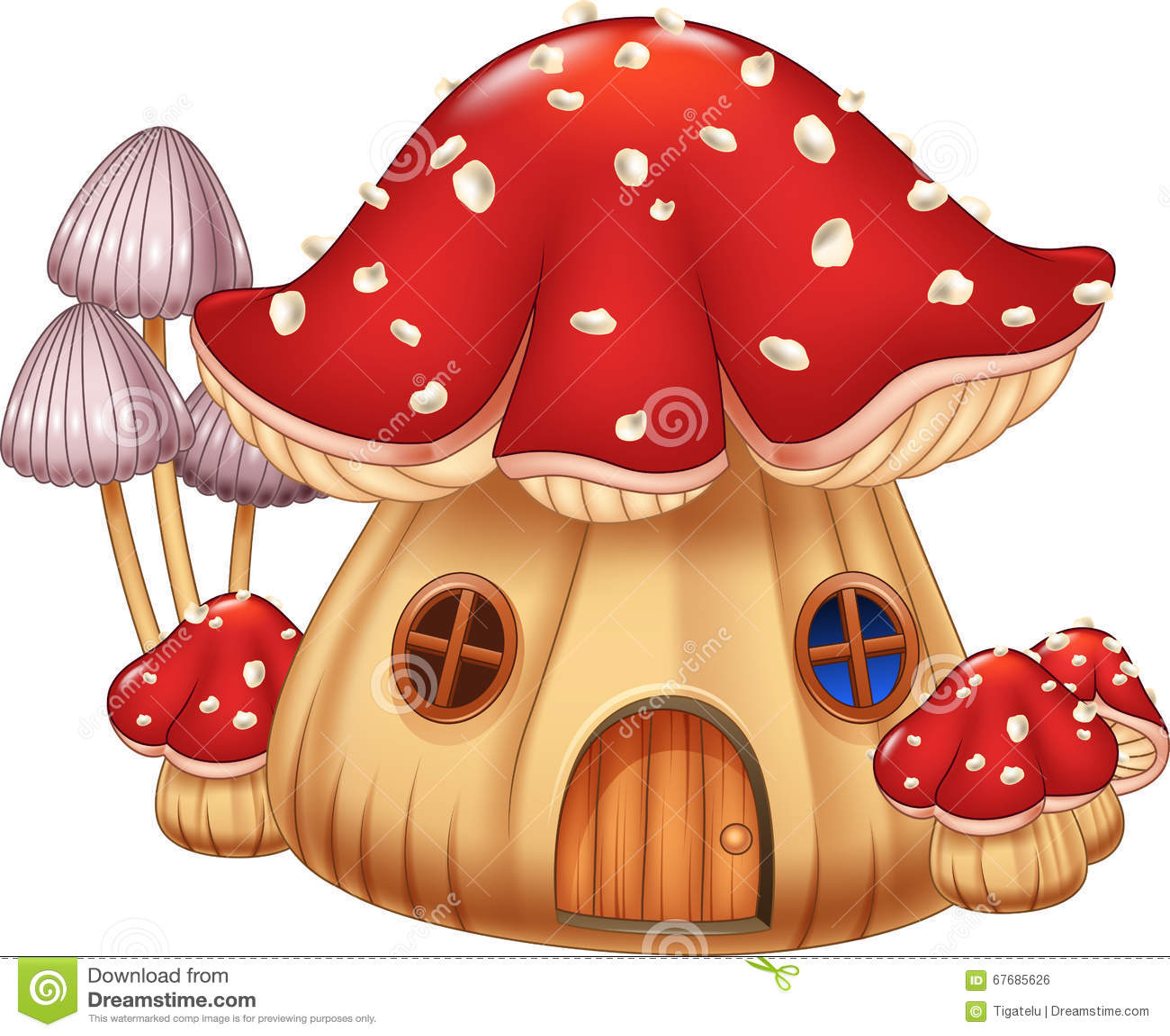 Download Cartoon Illustration Mushroom House Stock Vector - Illustration of vegetation, mushroom: 67685626