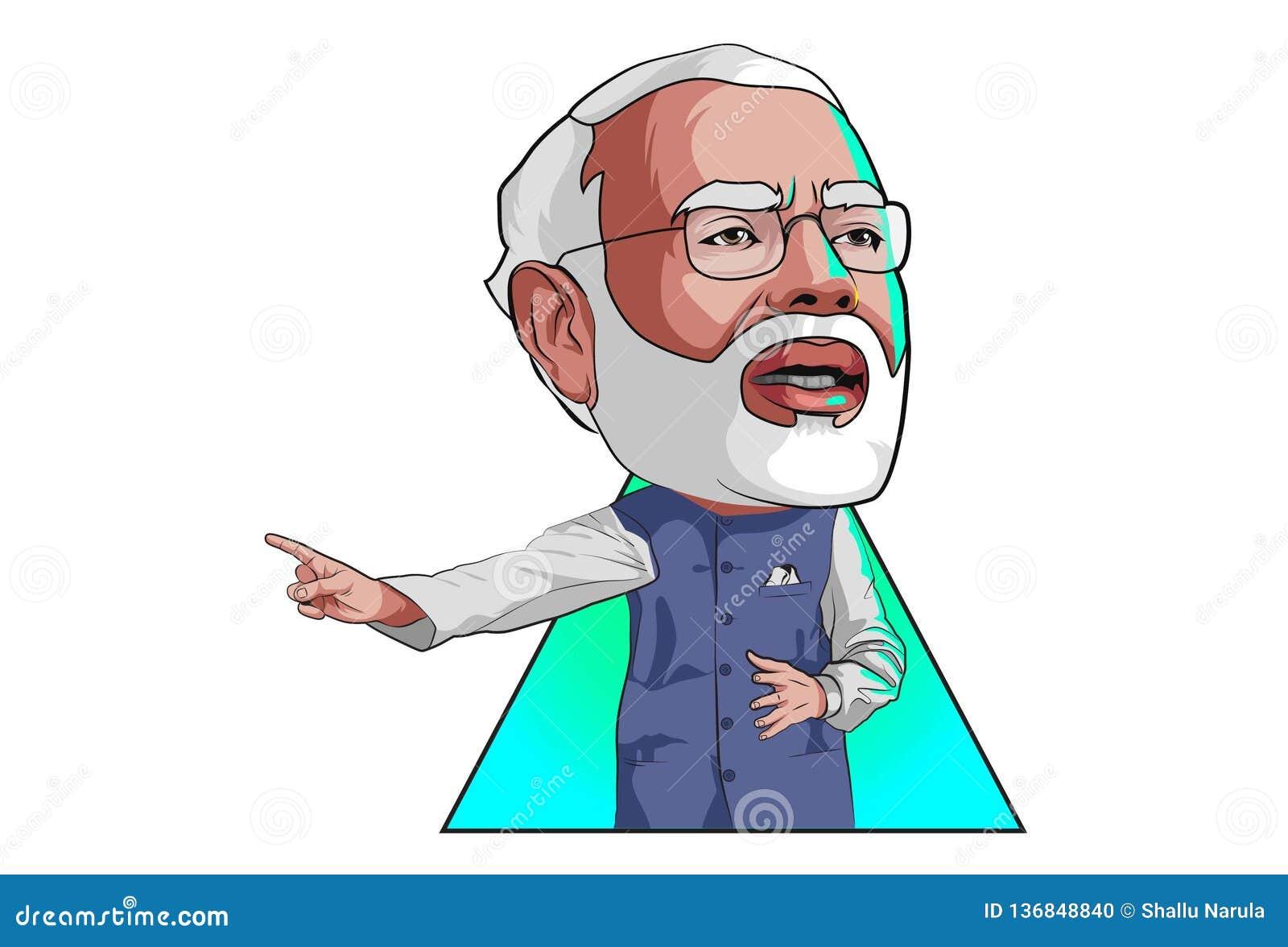 Cartoon Illustration Of Narendra Modi Editorial Image