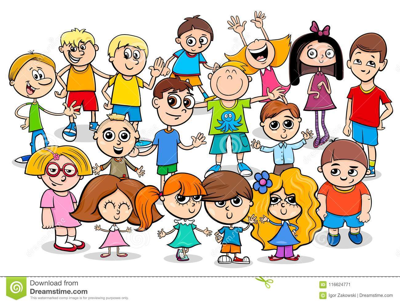 Happy Children Cartoon Characters Group Stock Vector Illustration - Toddler-cartoon-characters