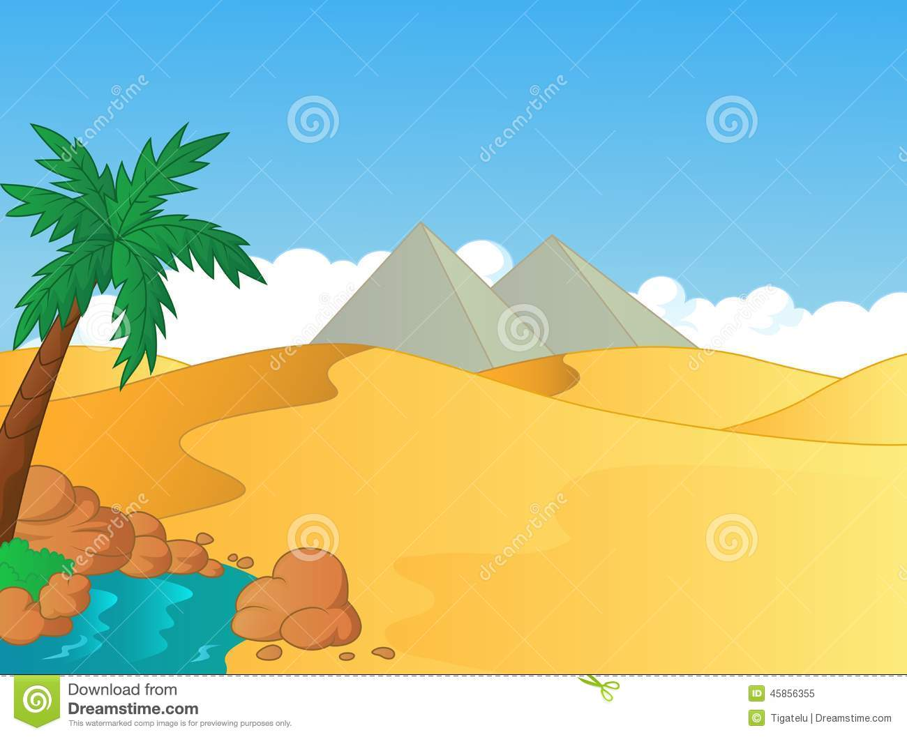 Cartoon Illustration Of Small Oasis In The Desert Stock Vector - Image ...