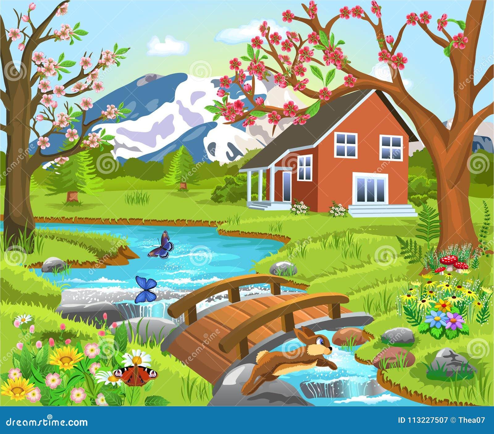House Landscape Images: Cartoon Illustration Of A Spring Natural Landscape Stock