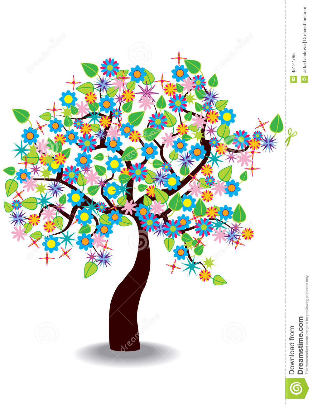 Stock Illustration Cartoon Illustration Spring Tree Colorful Blooming ...