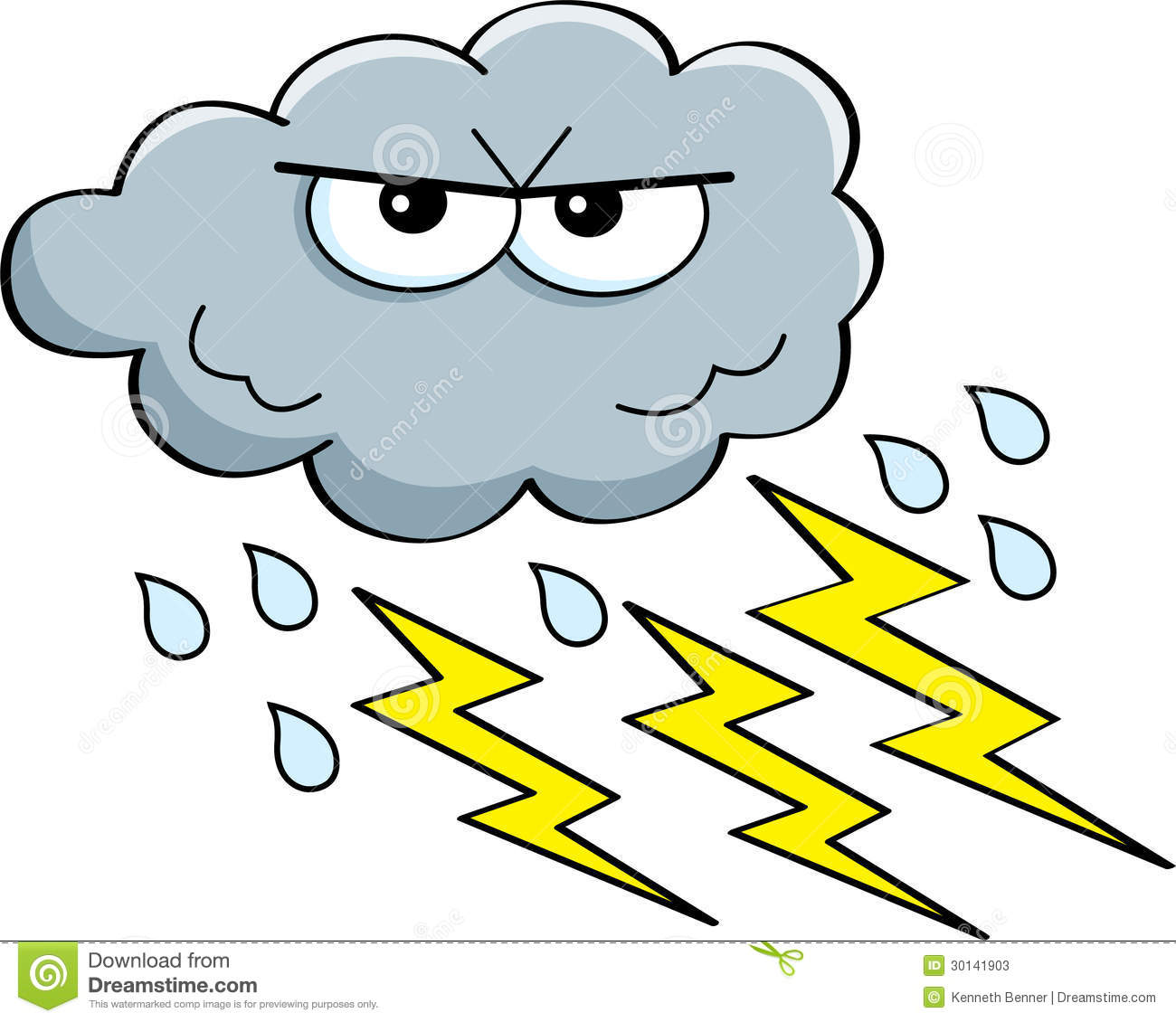 Cartoon illustration of a storm cloud with rain and lightning.