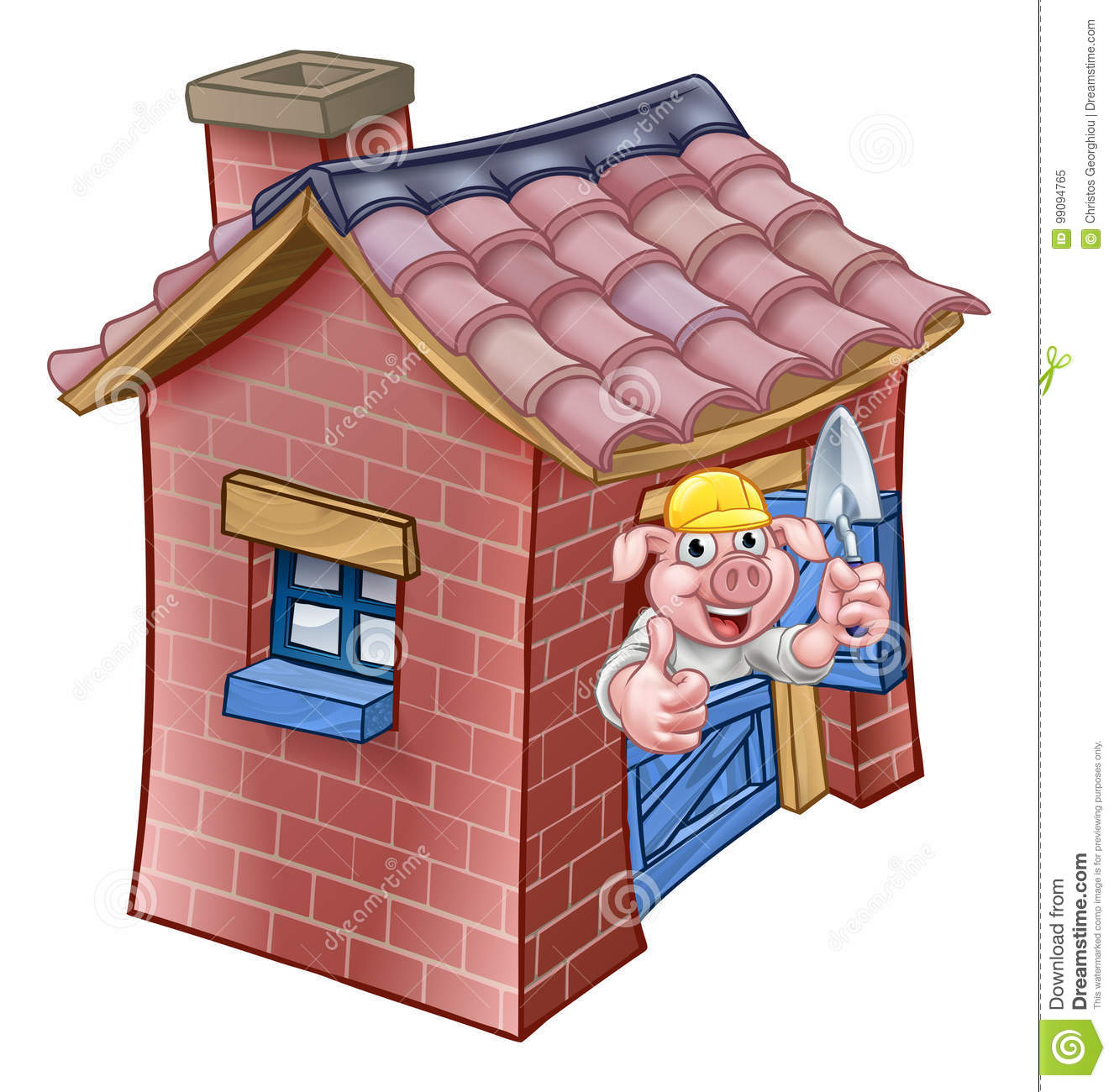 Three Little Pigs Fairy Tale Brick House Stock Vector - Illustration ...