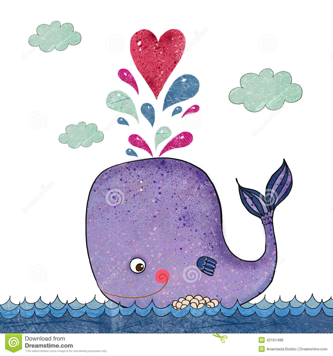 Cartoon Illustration With Whale And Red Heart Marine