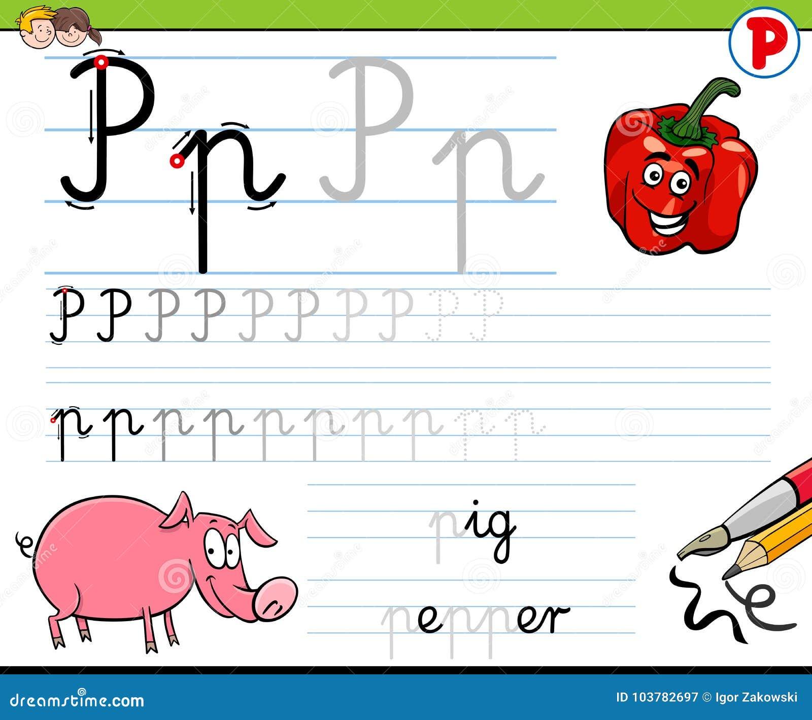 How To Write Letter P Worksheet For Kids Stock Vector Illustration