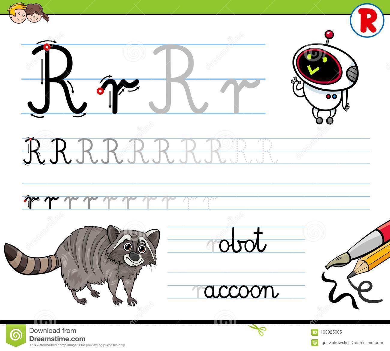 How To Write Letter R Worksheet For Kids Stock Vector Illustration