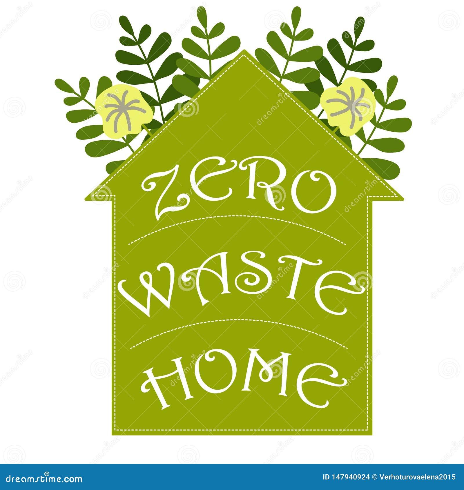 Cartoon Illustration With Zero Waste Home Vector