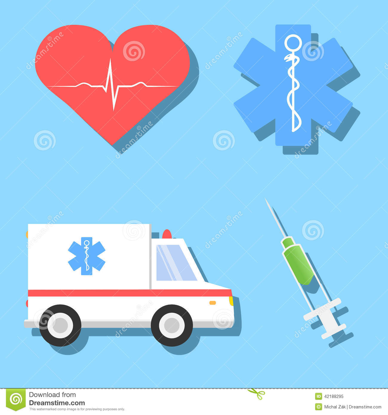Cartoon Illustrations Of Medical Related Objects Stock Vector - Image ...