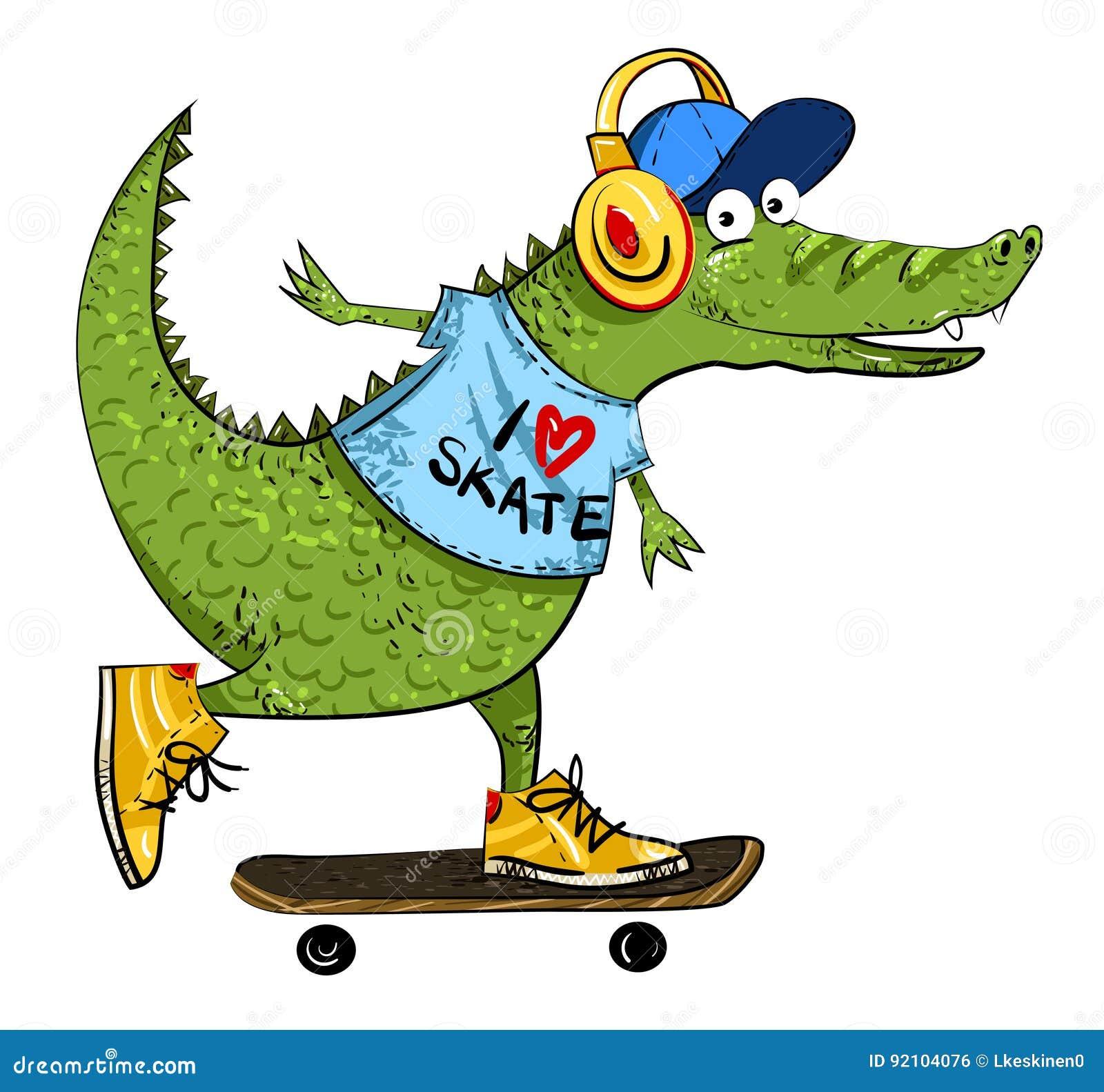 Amazing Cartoon: Cartoon Image Of Amazing Skateboarding Alligator Stock