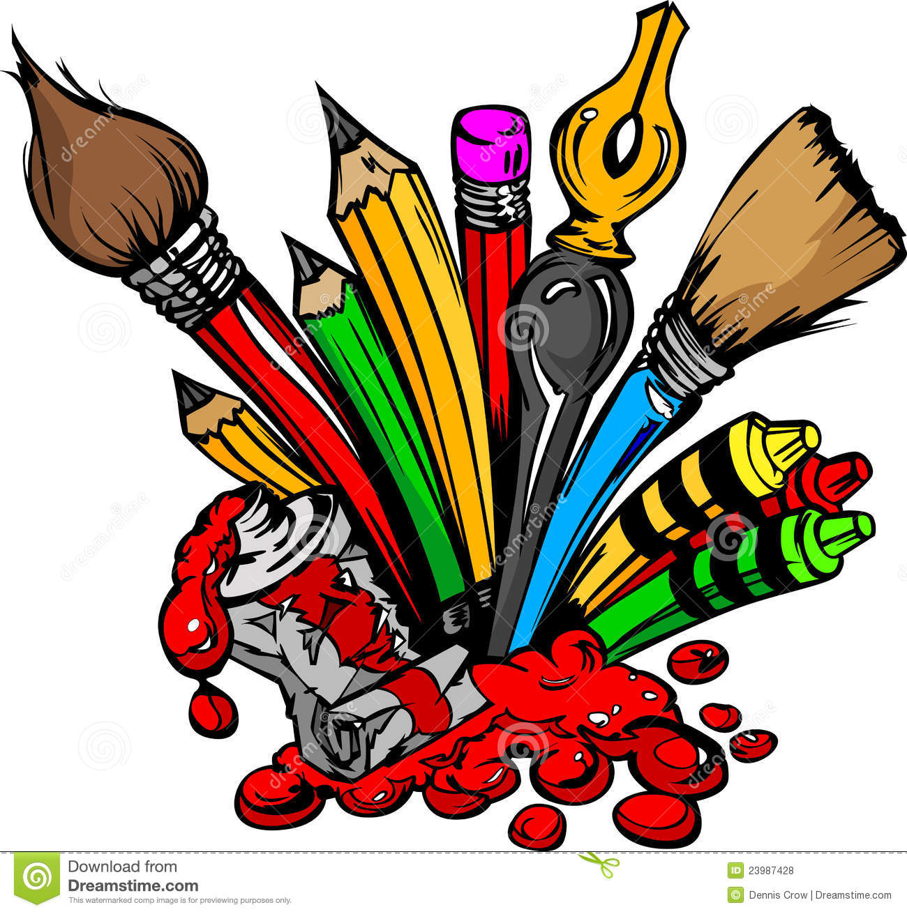 Art and back to school supplies paint brushes pencils oil paint