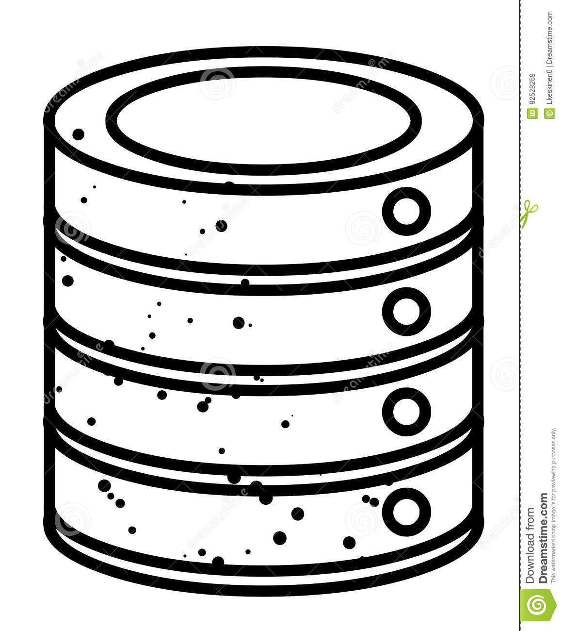 cartoon image of database icon cartoon vector
