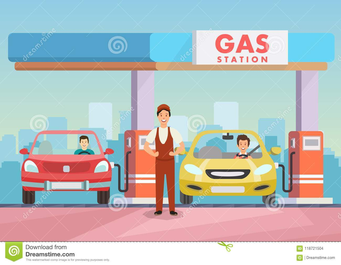 Cartoon Image Gas Station Worker Refilling Cars Stock
