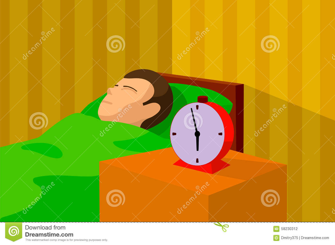 Cartoon Image Of A Man Sleeping In Bed With An Alarm clock