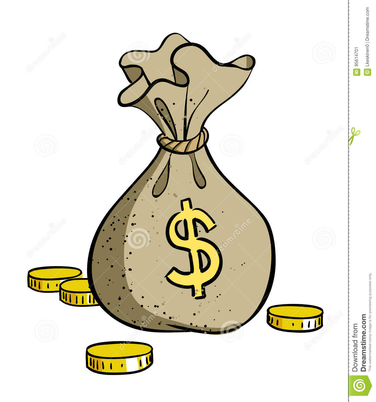 Cartoon Image Of Money Bag Icon Money Symbol Stock Vector
