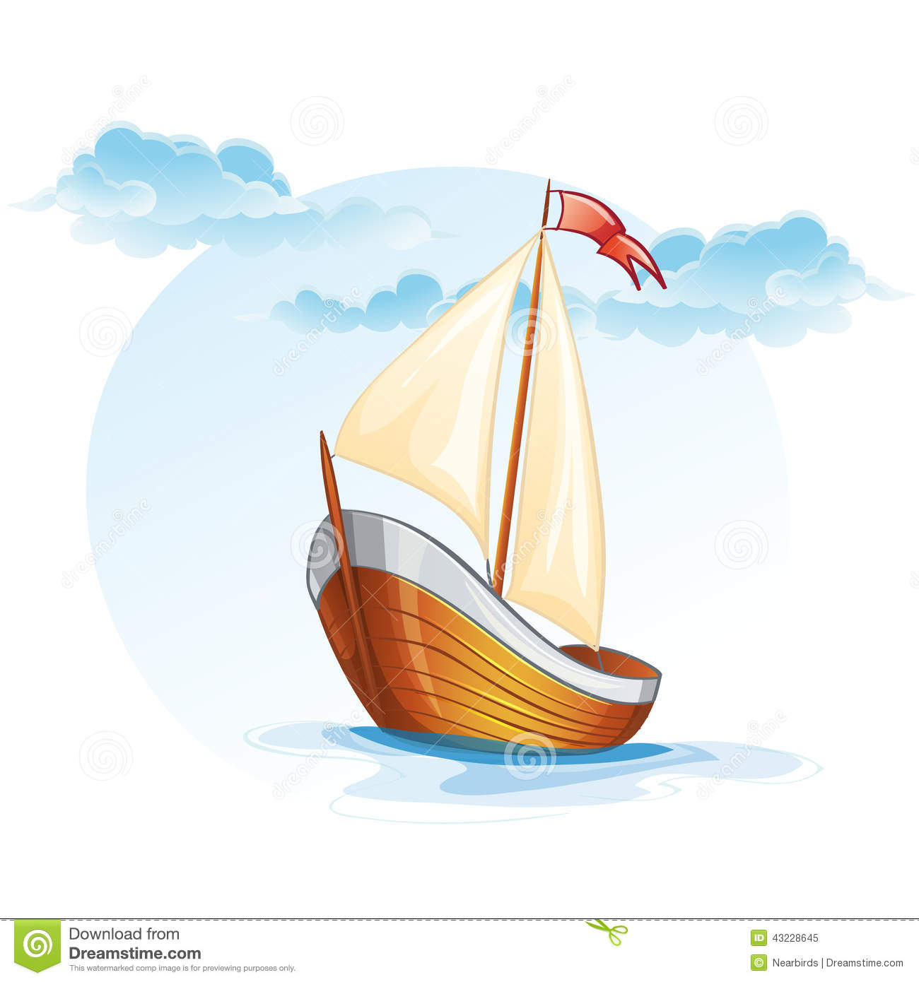 Cartoon Image Of A Wooden Sailing Boat Stock Vector - Image: 43228645