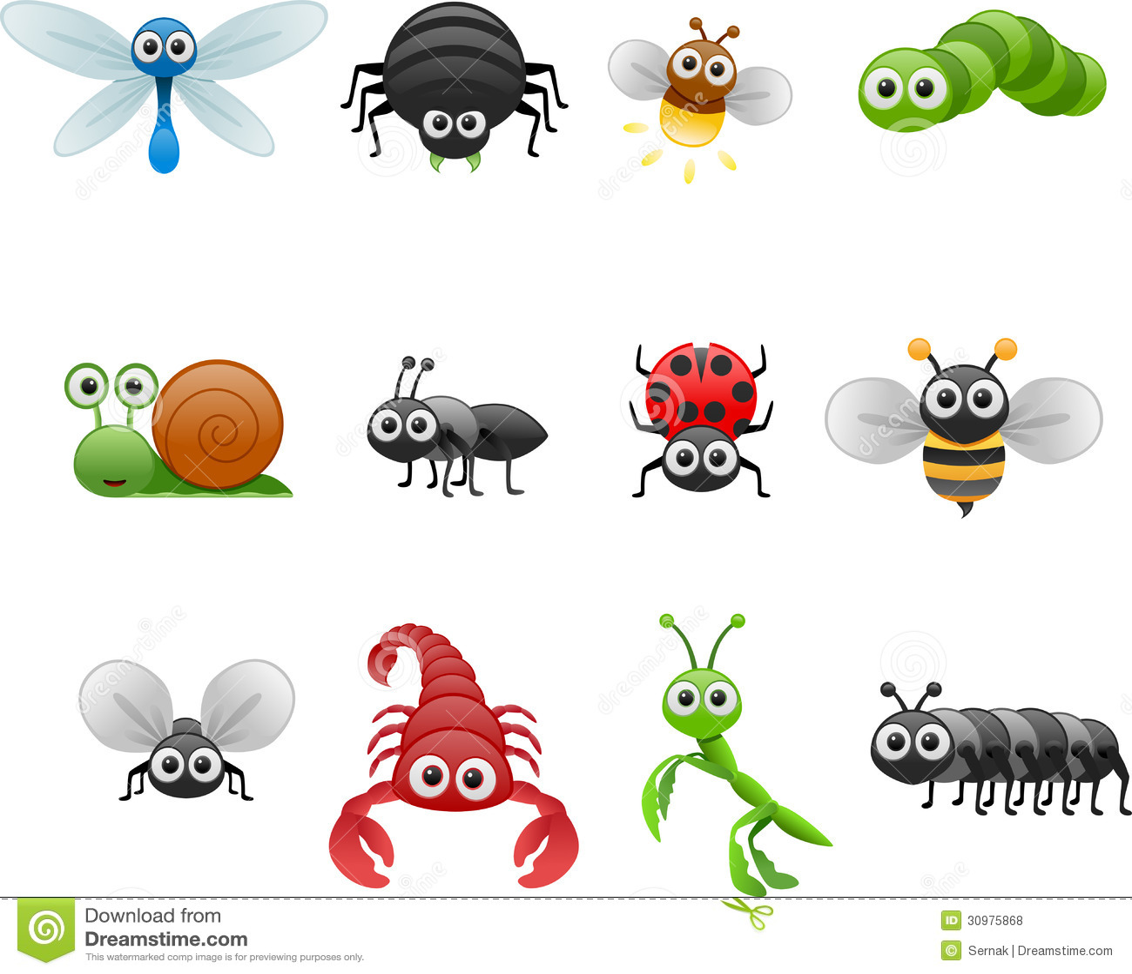 Cartoon insect set stock vector. Illustration of cartoon ...