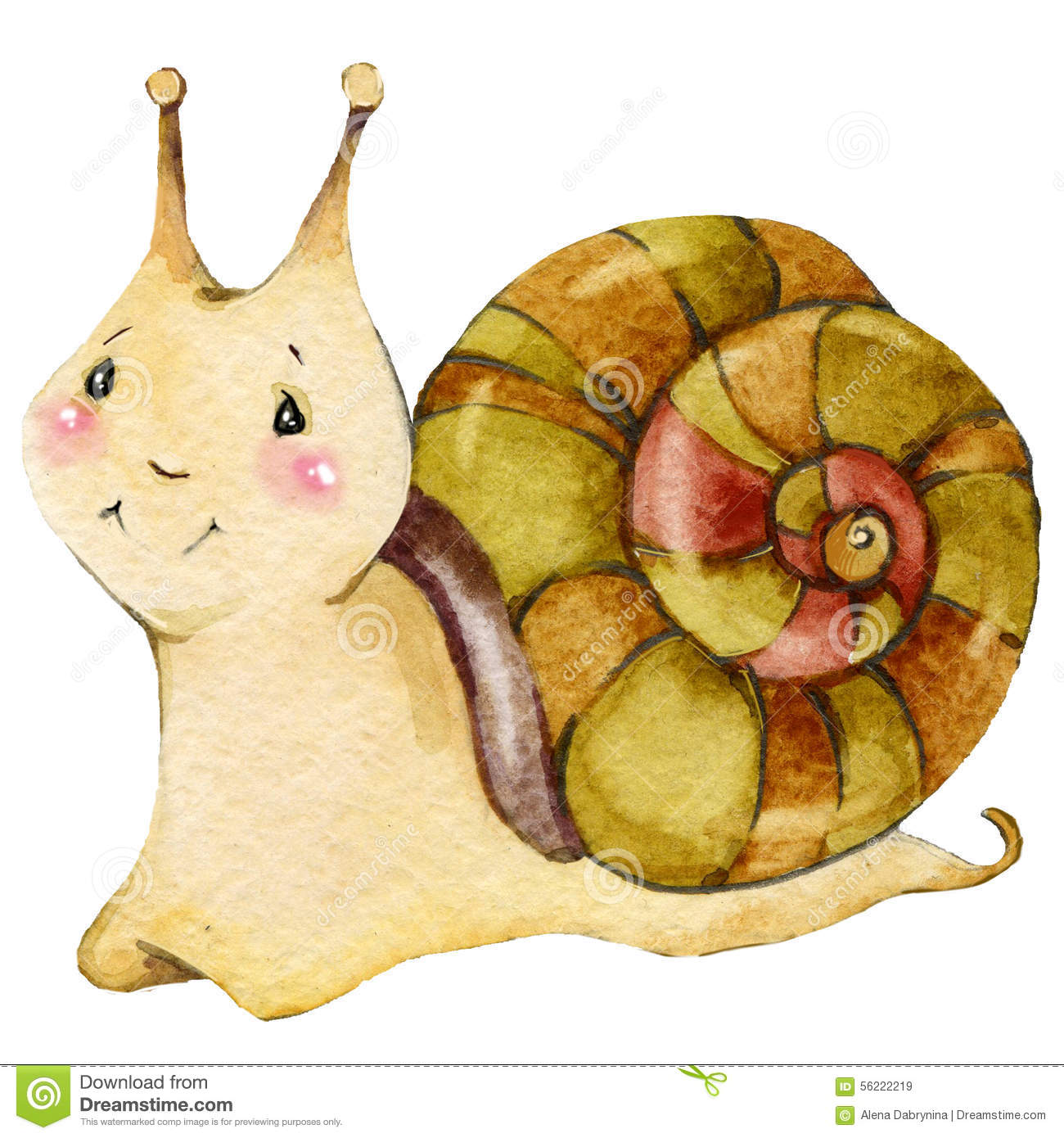 Cartoon insect snail watercolor illustration.
