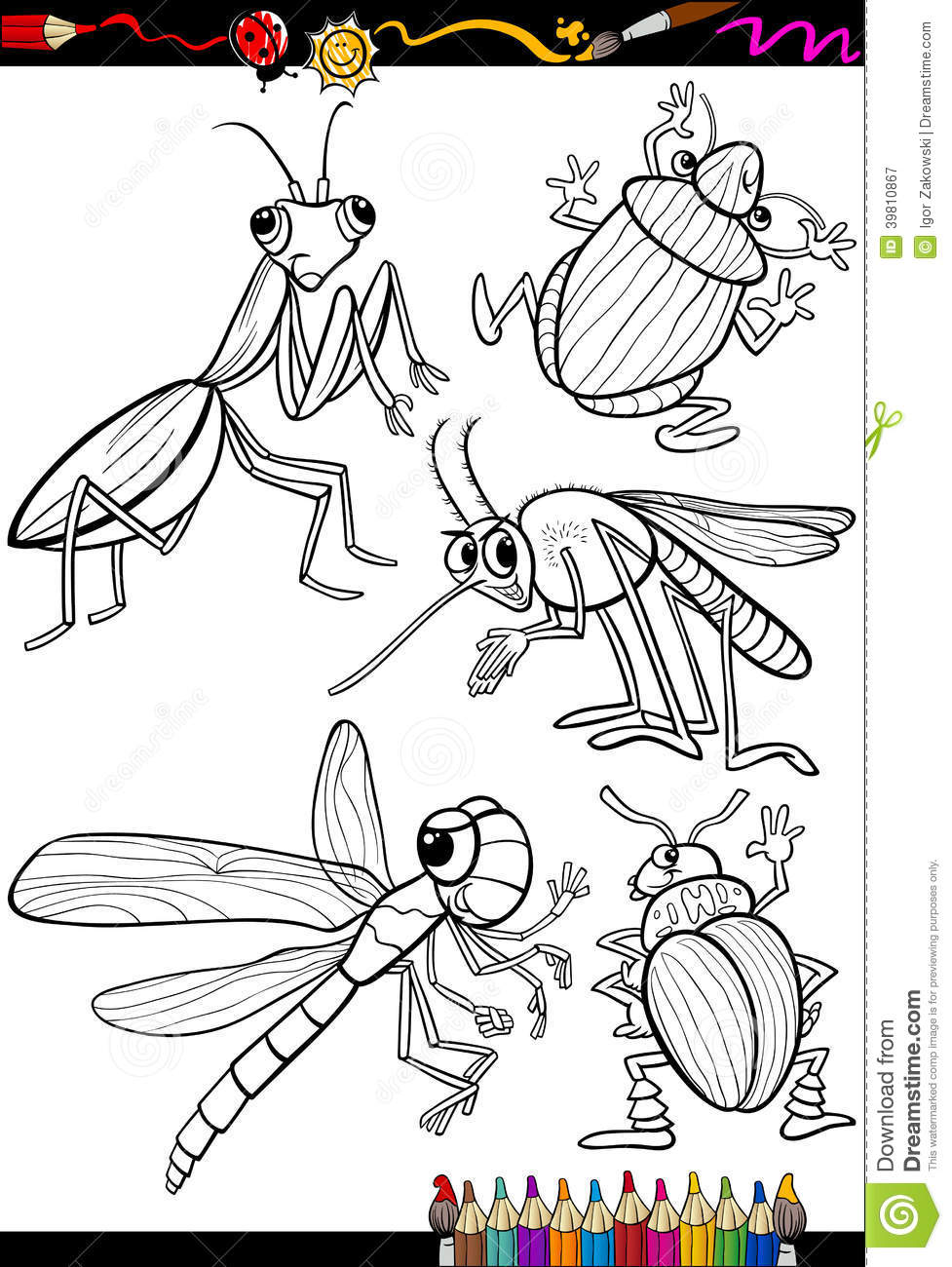 cartoon bug coloring pages - photo#38