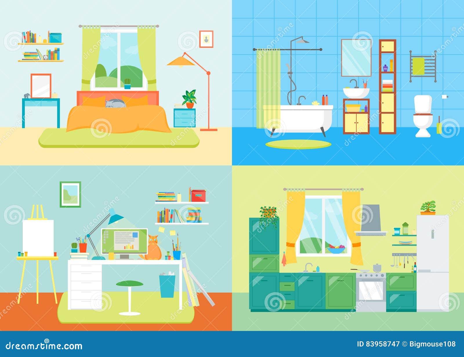 Cartoon Interior Basic Room Of Home. Vector Stock Vector ...