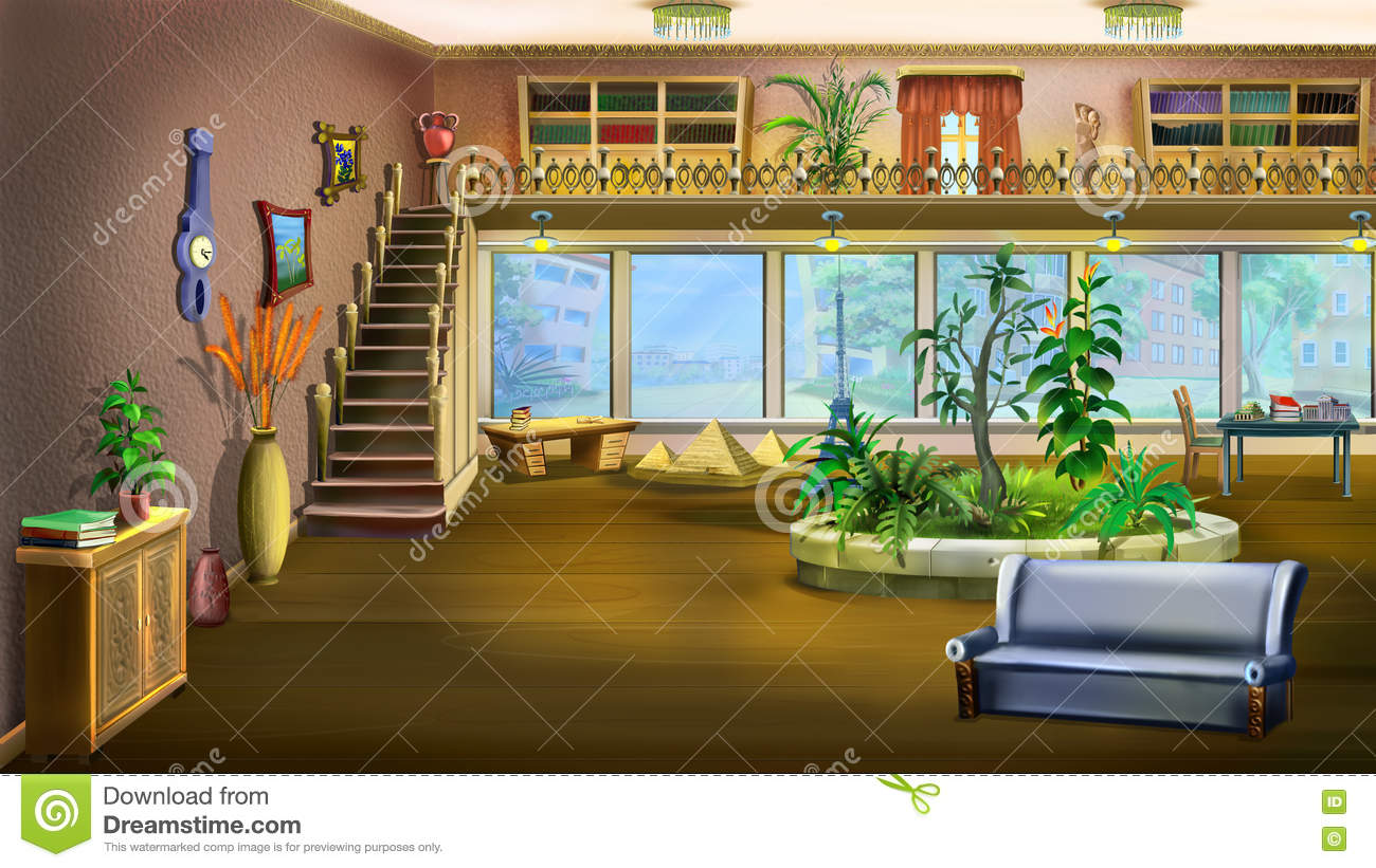 Living Room Background cartoon interior design of vintage living room background stock