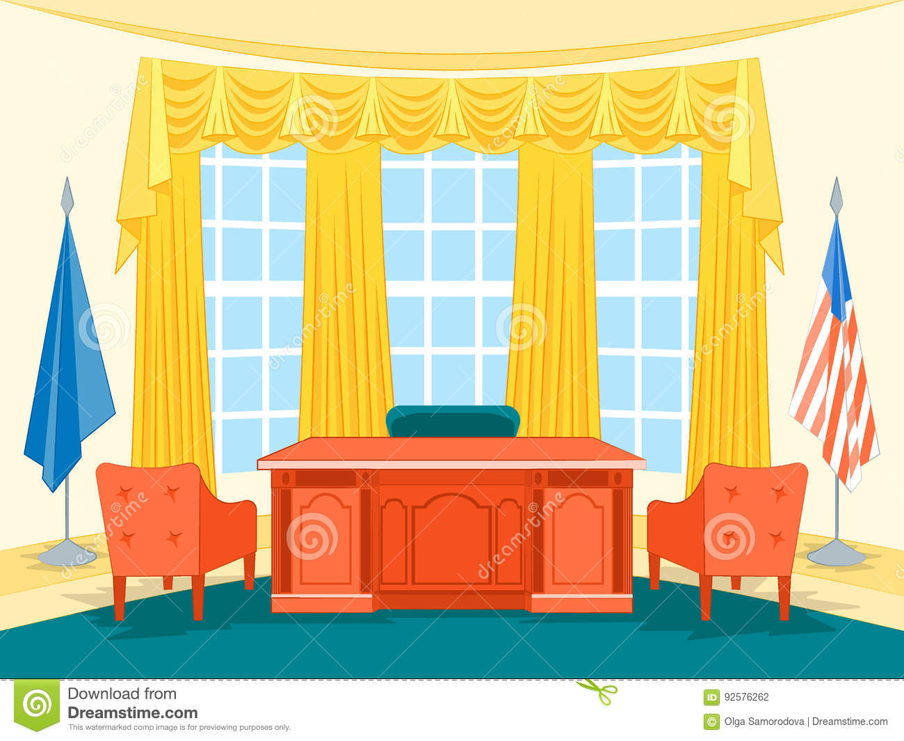 Cartoon Interior President Government Office With ...