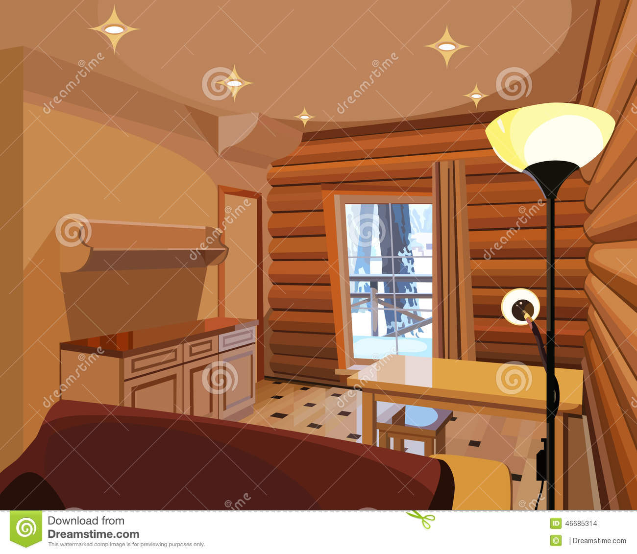 Cartoon Dining Room: Cartoon Interior In A Wooden House Stock Vector