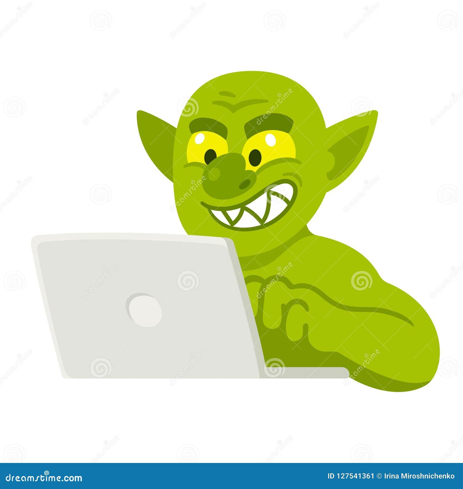 Cartoon internet troll stock vector. Illustration of ...