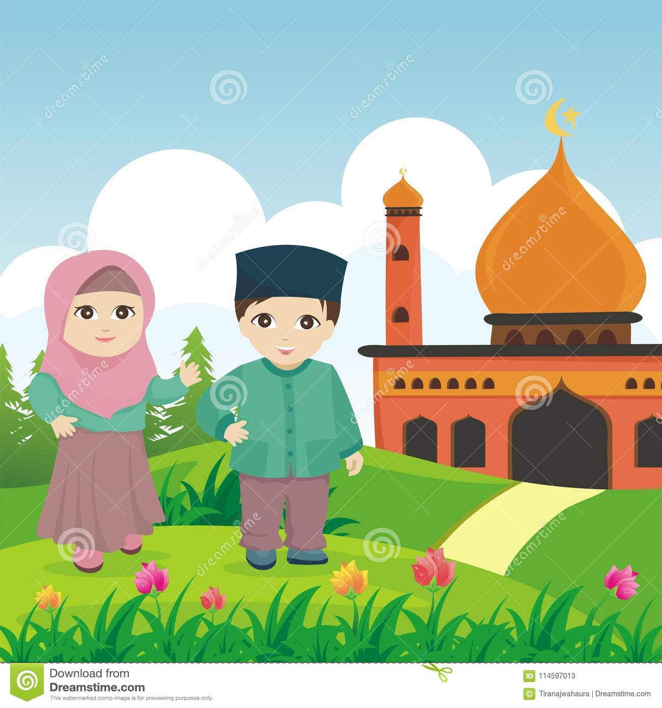 Cartoon islamic kid with mosque and landscape