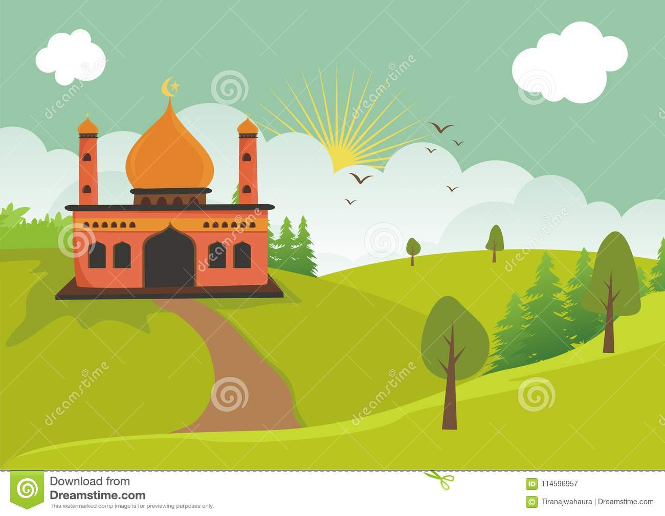 cartoon islamic mosque with landscape stock vector illustration of beautiful grass 114596957 https www dreamstime com cartoon islamic mosque vector illustration lovely landscape beautiful sky cloud backdrops cartoon islamic mosque image114596957