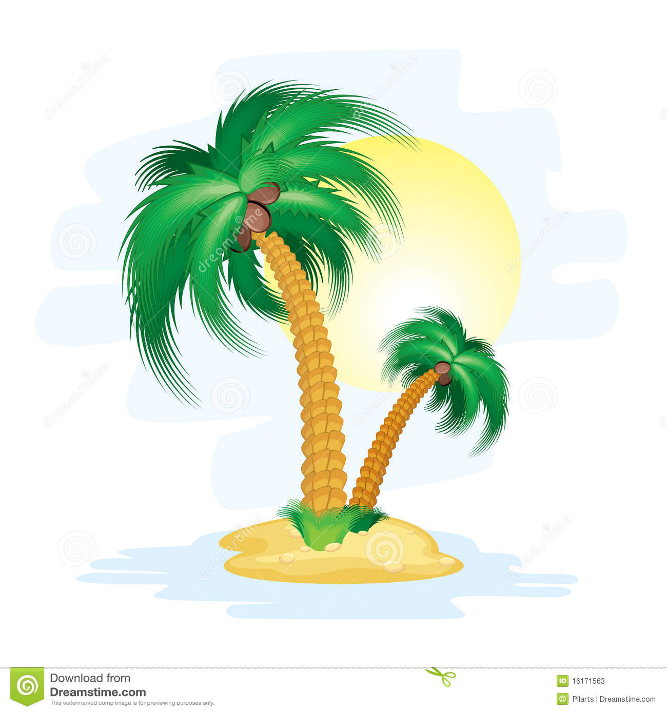 Illustration of stylized cartoon island with tropical palms.