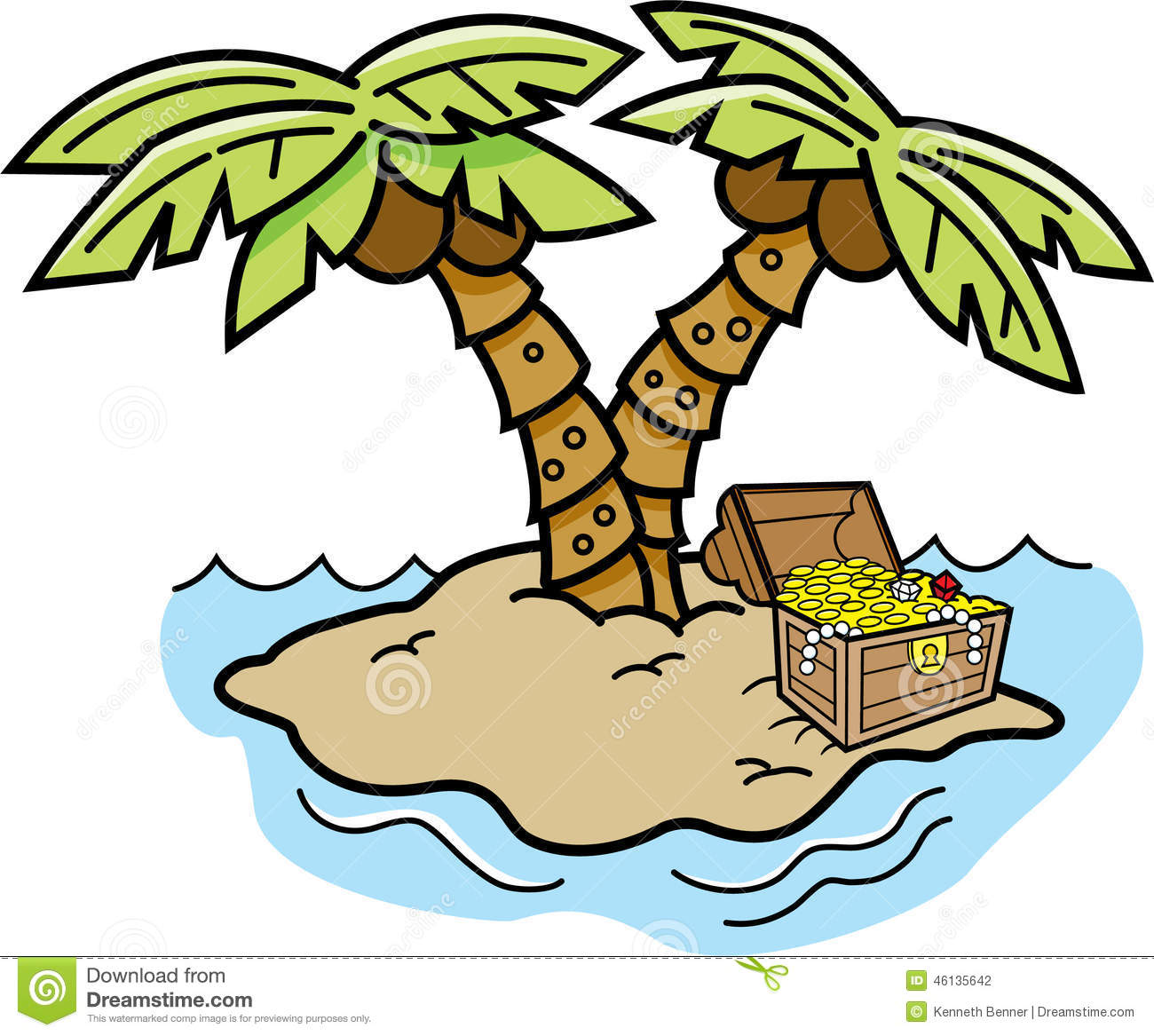 Cartoon Island With Palm Trees And A Treasure Chest. Stock ...