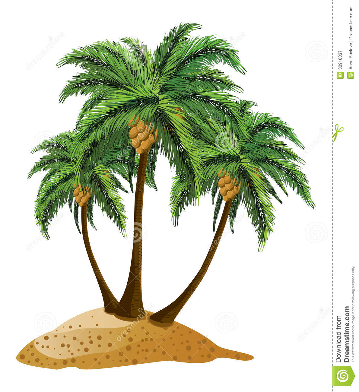 Cartoon Island With Palms Royalty Free Stock Photography - Image ...