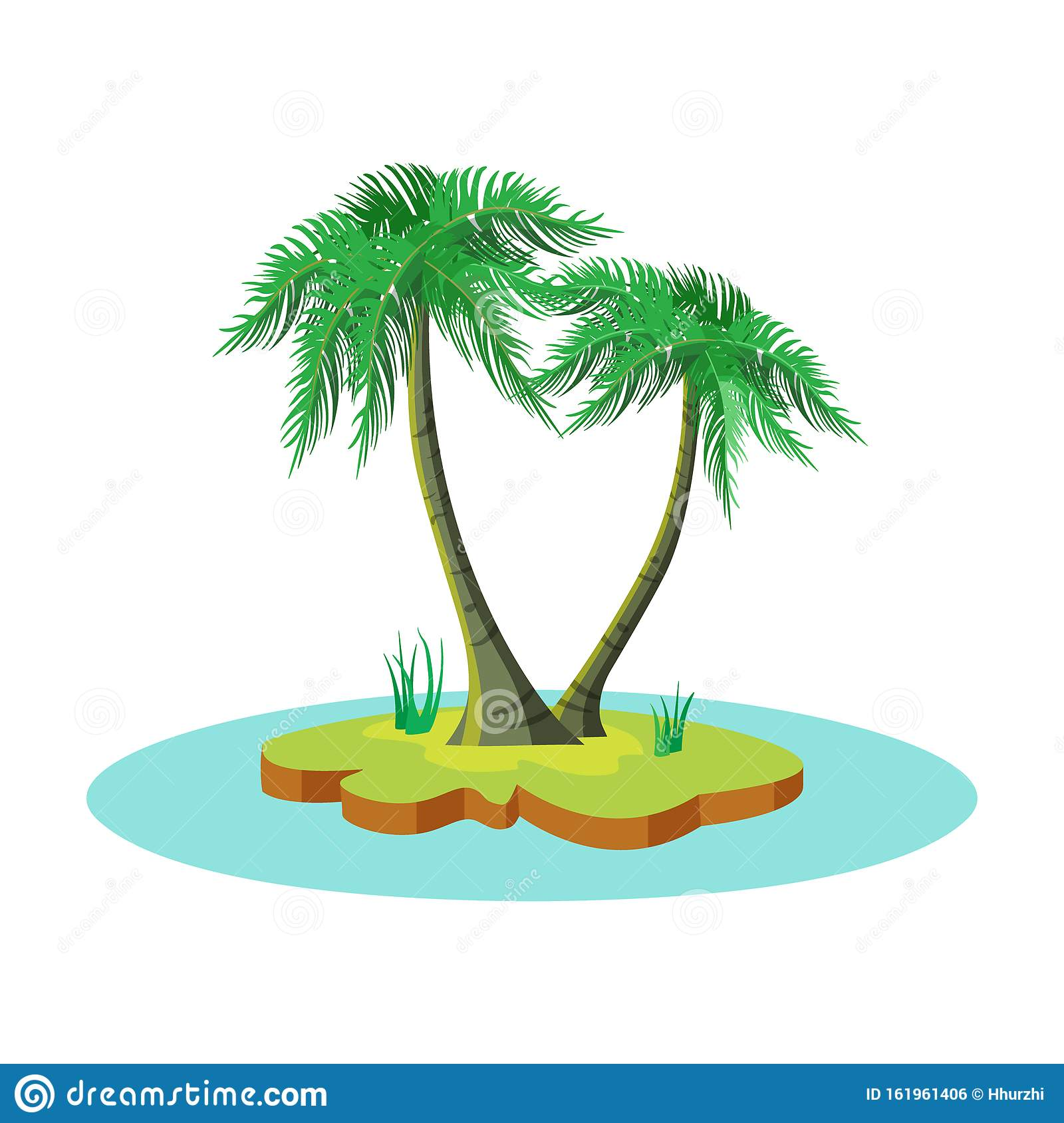 Cartoon Island With Two Coconut Palm Trees Stock Vector ...