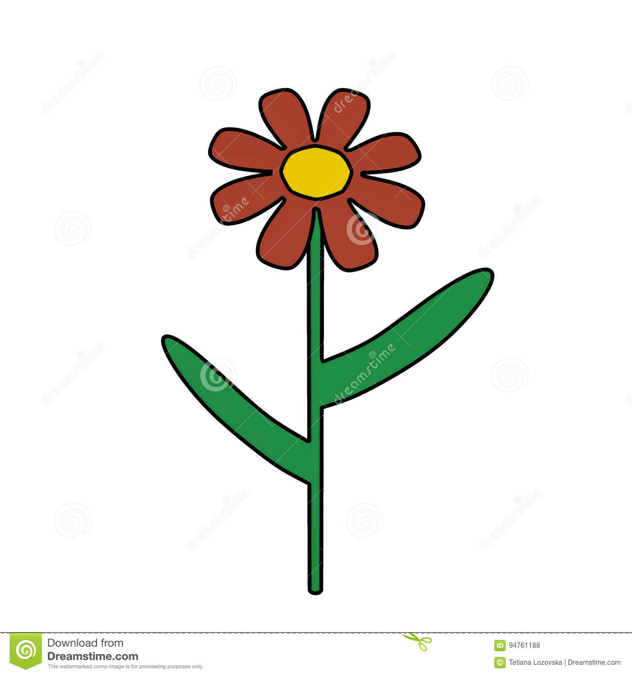 Cartoon Isolated Pink Flower With Leaves Stock Illustration