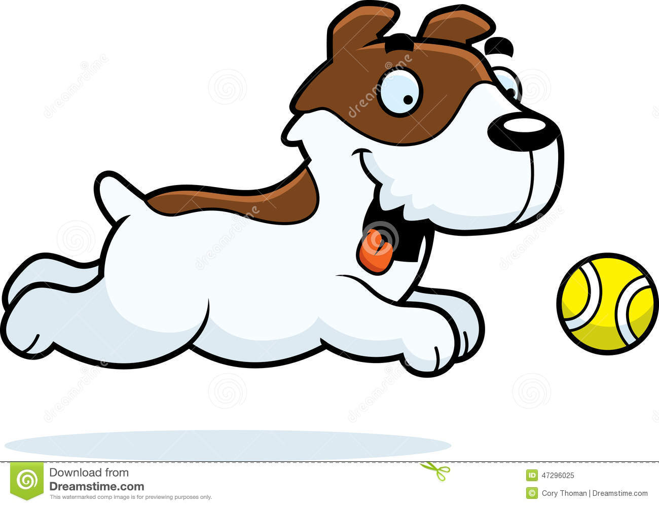 Cartoon Jack Russell Terrier Chasing Ball Stock Vector - Image ...