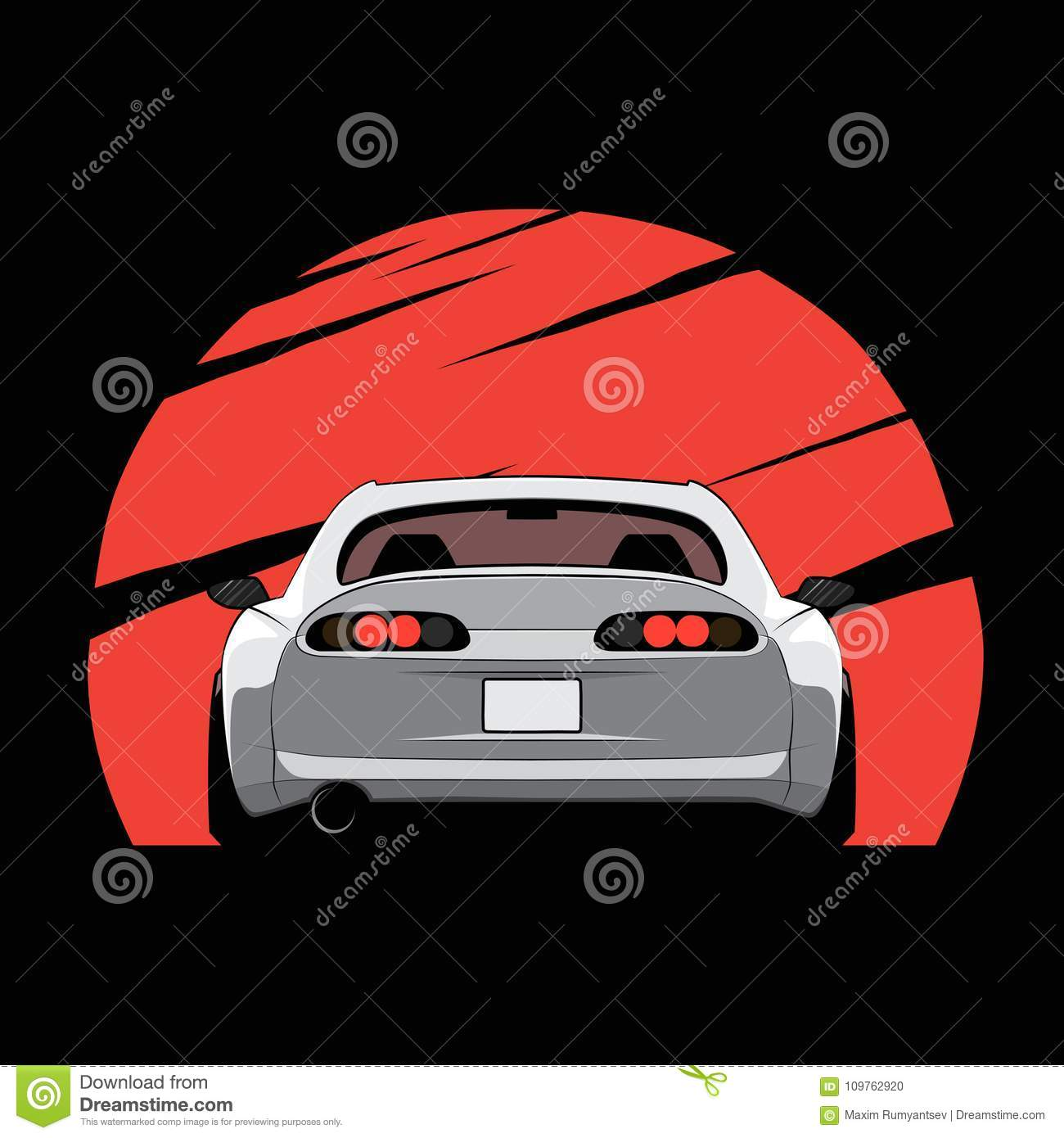 Cartoon Japan Tuned Car On Red Sun Background. Back View